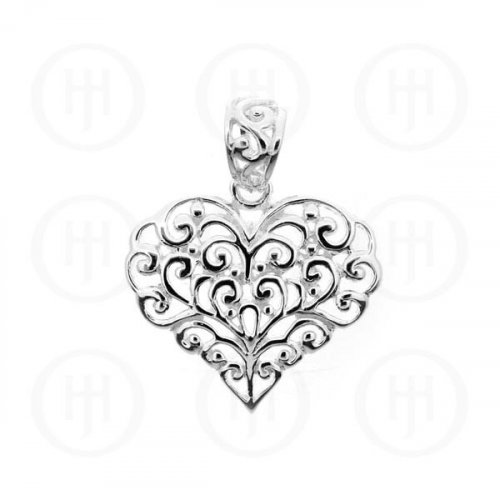 Silver Hand-Carved Heart Pendant (P-1048)