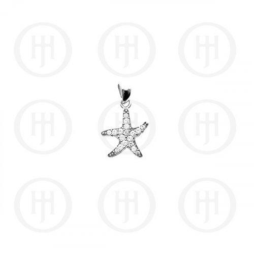 Silver CZ Starfish Pendant Small, (P-1094-S)