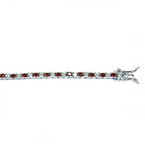 Silver Plain CZ Single Row RedStone Tennis Bracelet (BR-CZ-127-G)