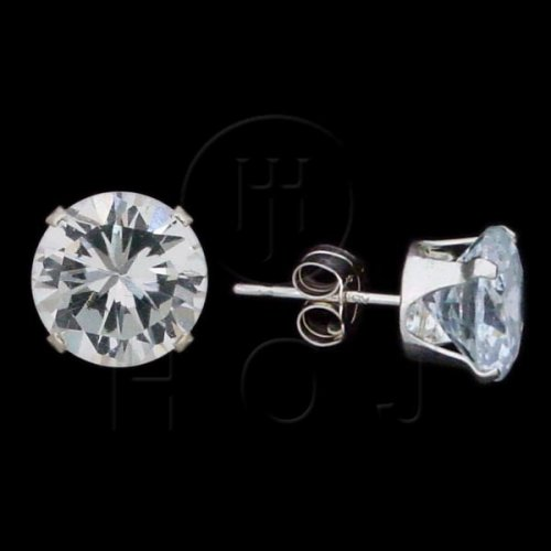 Silver CZ Stud Earrings Round 8mm (ST-1014-8)