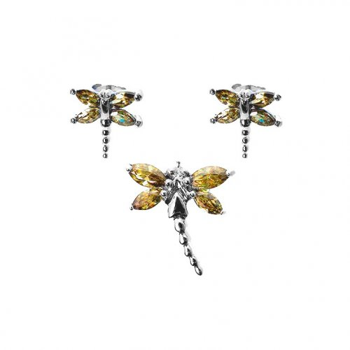 Silver Dragon Fly Earrings Pendant Set Champagne(PS-1023-C)