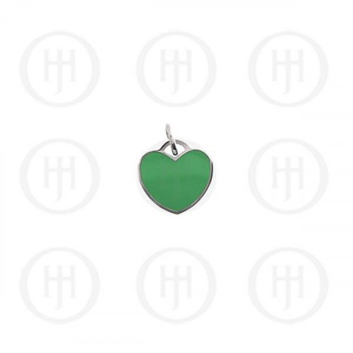 Silver Assorted Tiffany Inspired Emerald Heart Dog-Tag Pendant 15mm (DT-H-101-E)