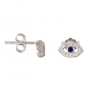 Sterling Silver Evil Eye CZ stud Earrings (ST-1201)