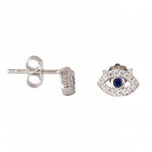 Rose Gold Plated Evil Eye CZ stud Earrings (ST-1201-R)