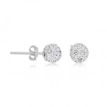 Sterling Silver CZ Ball Studs (ST-1232)