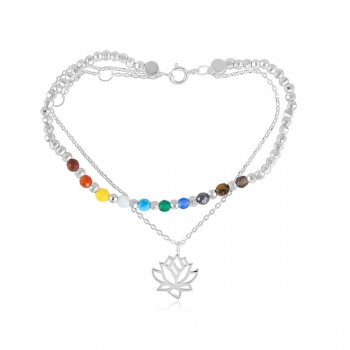 Sterling Silver Lotus Flower with Chakra Stones (BR-1200)