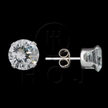 Silver CZ Stud Earrings Round 7mm (ST-1014-7)