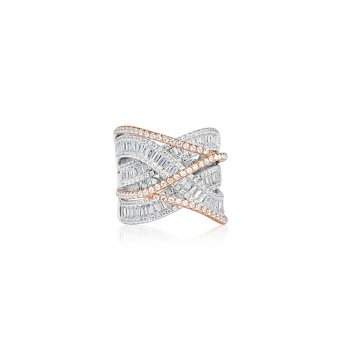CZ Ring with Rose Gold CZ Crossing Over (R-1321)