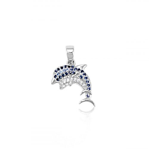 Sterling Silver Dolphin Pendant (P-1355)