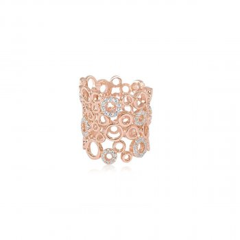 Sterling Silver Rose Gold Plated Multi Circle Ring (R-1355-R)