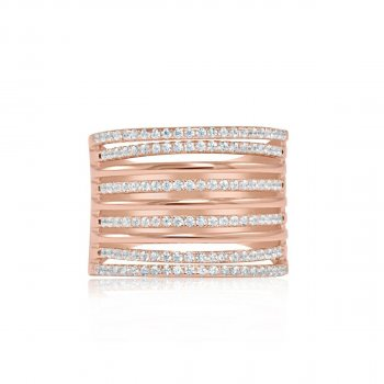 Sterling Silver Rose Gold Multi Band Ring (R-1356-R)