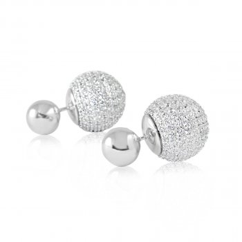 Dior Earring with Full CZ and Rhodium Ball (ST-1233)