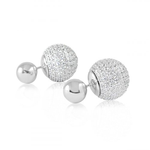 Dior Earring with Full CZ and Rhodium Ball