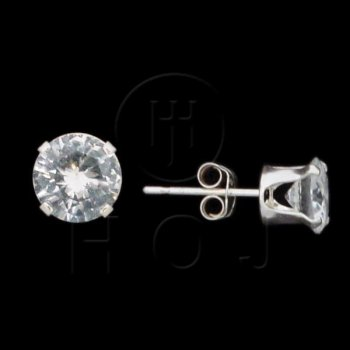 Silver CZ Stud Earrings Round 6mm (ST-1014-6)