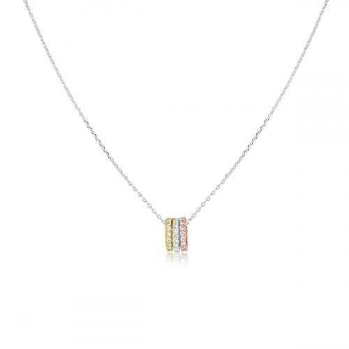 Sterling Silver Tri Colour CZ Necklace (N-1224)