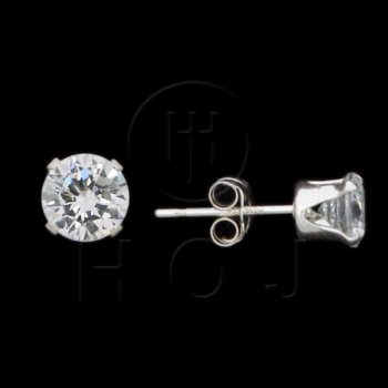 Silver CZ Stud Earrings Round 5mm (ST-1014-5)