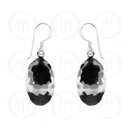 Silver Plain Dangle Oval Hammered Earrings  (ER-1007)