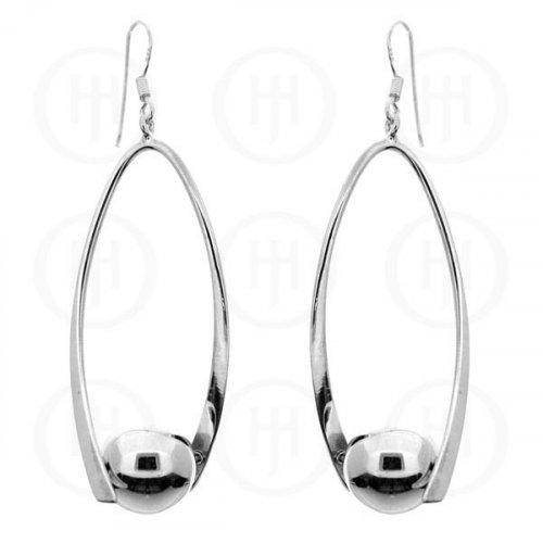 Silver Dangle Ball Earrings (ER-1016)