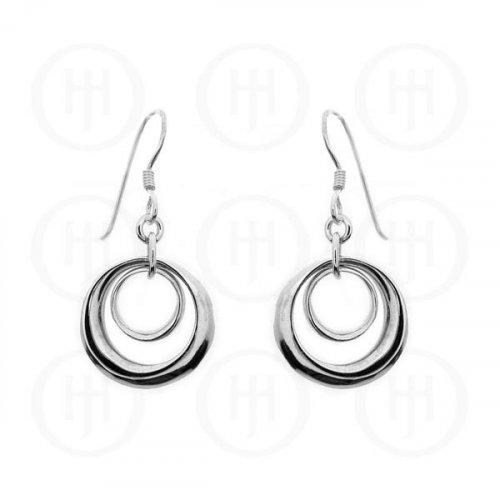 SIlver Plain Double-Circle Dangle Earrings (ER-1011)