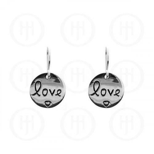"""Plain Sterling Silver Engraved """"Love"""" Dangle Earrings (ER-1049)"""