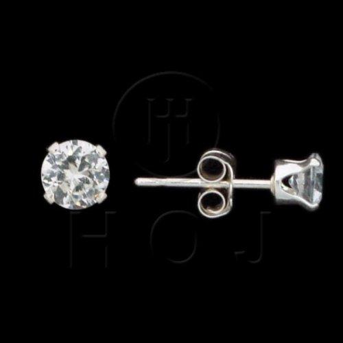 Silver CZ Stud Earrings Round 4mm (ST-1014-4)