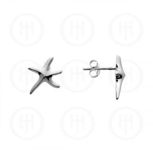 Plain Sterling Silver Stud Starfish Earrings (ST-1032A)