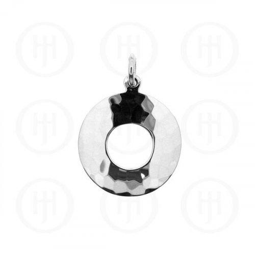 Plain Silver Hammered Circle Pendant (HP100)