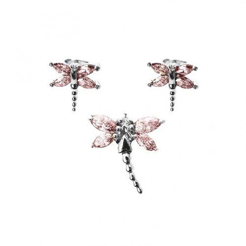 Silver Dragon Fly Earrings Pendant Set Citrine(PS-1023-C)
