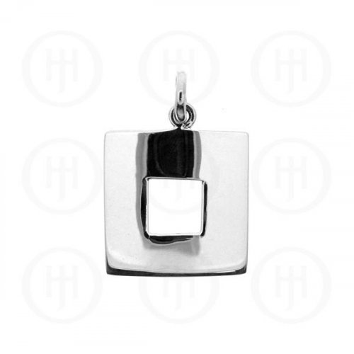 Plain Silver Square Pendant (P-1130)