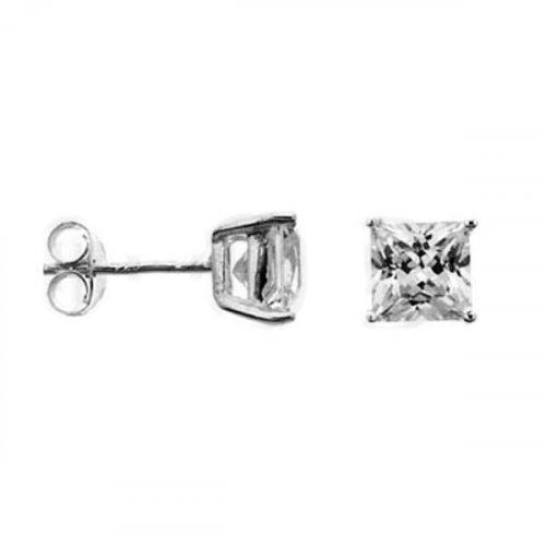Silver Square Princess Cut CZ Stud Earrings ~10x10 (ST-1016-10)