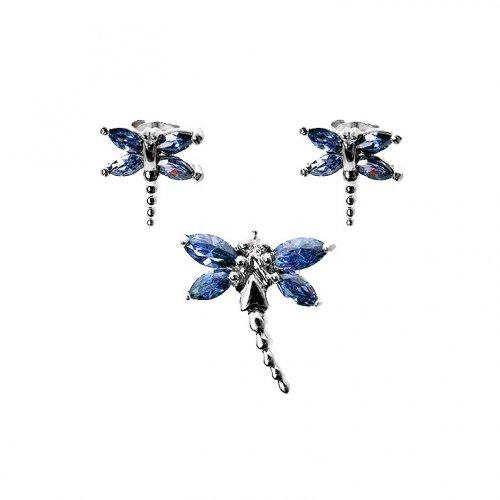 Silver Dragon Fly Earrings Pendant Set Sapphire(PS-1023-S)
