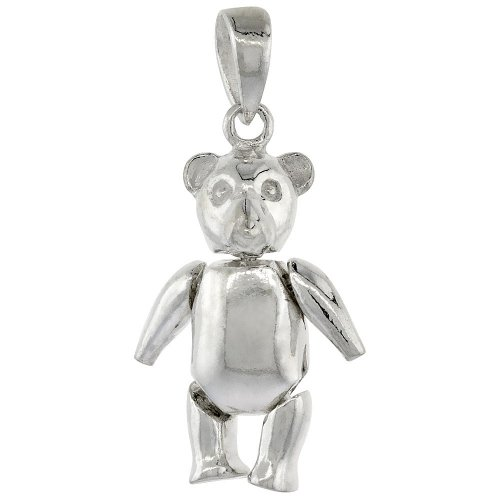 Sterling Silver Movable Teddy Bear Pendant (P-1068)